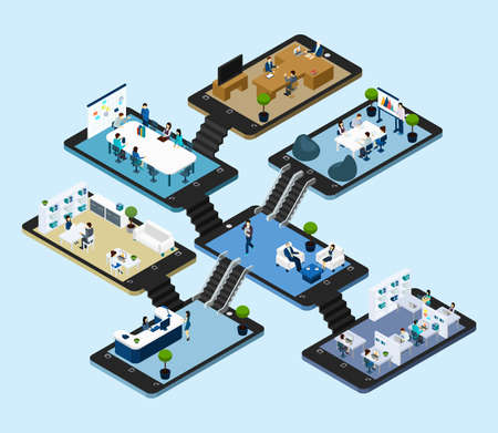 Illustration pour Isometric abstract scheme with 3d  icons of rooms of online office placed on tablet styled platforms vector illustration - image libre de droit