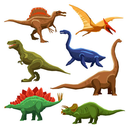 Illustration pour Dinosaurs color icons set in cartoon style on white background isolated vector illustration - image libre de droit