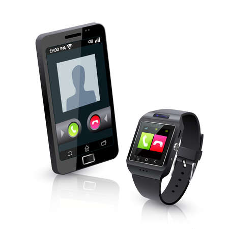 Illustration pour Black smartwatch alerts for compatible smart phone incoming call realistic objects composition with white background vector illustration - image libre de droit