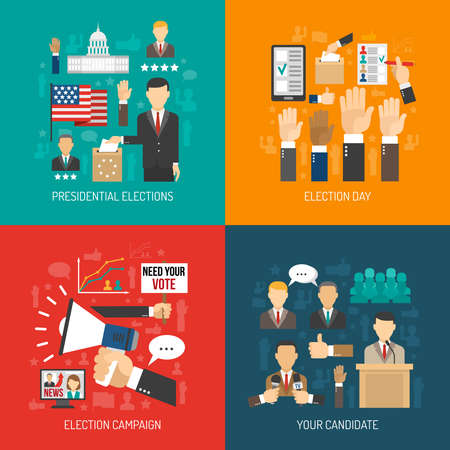 Illustration pour Color flat concept about steps of american presidential elections isolated vector illustration - image libre de droit