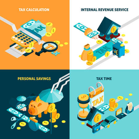 Illustration for Tax isometric concept icons set with personal savings symbols isolated vector illustration - Royalty Free Image