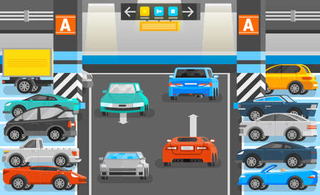 Illustration for Underground parking with road cars and signs orthogonal flat vector illustration - Royalty Free Image