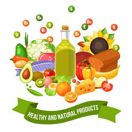 Illustration pour Flat poster of different healthy and natural organic food products with vitamin groups on top vector illustration - image libre de droit