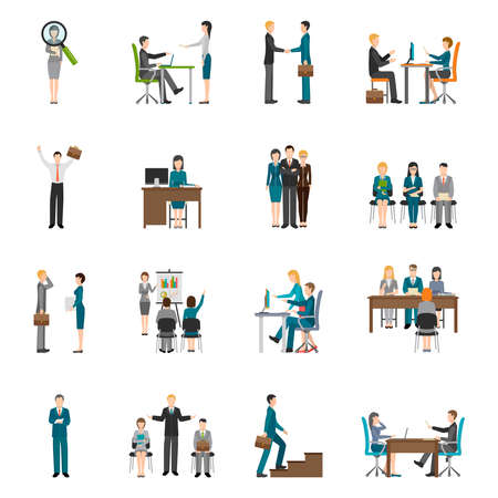 Illustration pour Recruitment HR people interviewing applicants flat icons set on white background isolated vector illustration - image libre de droit
