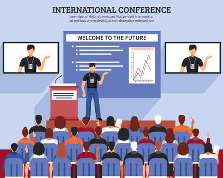 Illustration pour Presentation conference hall composition international conference welcome to the future descriptions vector illustration - image libre de droit