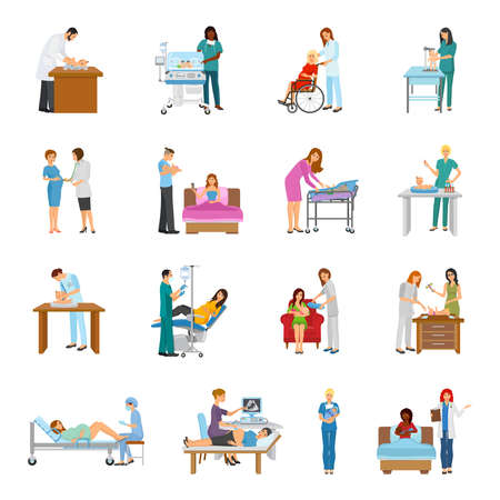 Illustration pour Maternity hospital newborn baby nursery birth attendant and pregnant women human characters collection of isolated images vector illustration - image libre de droit
