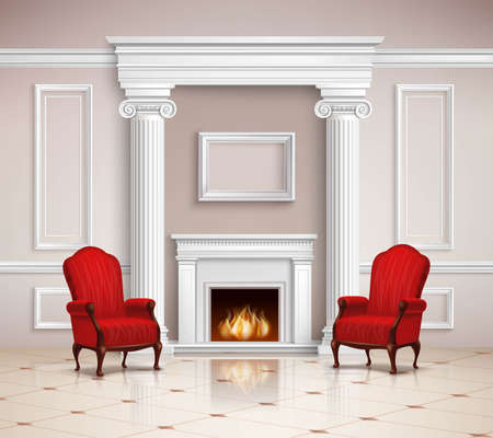 Illustration pour Realistic classic interior design with fireplace, moldings, columns and red armchairs on beige floor 3d vector illustration - image libre de droit