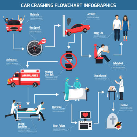 Illustration pour Car crashing infographics layout with information about possible causes of accident and health effects flat vector illustration - image libre de droit