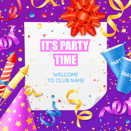 Illustration for Club party announcement invitation colorful poster card template with confetti and festive decorations on purple background vector illustration - Royalty Free Image