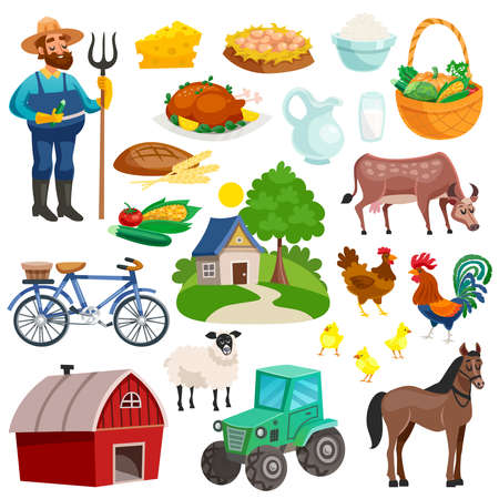 Illustration pour Collection of rural decorative cartoon icons with farmer with pitchfork farm animals  and dishes from natural products isolated vector illustration - image libre de droit