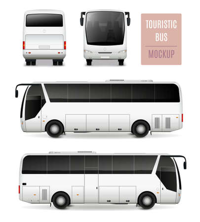 Illustration pour White touristic bus with tinted glass realistic advertising template side view front and rear isolated vector illustration - image libre de droit
