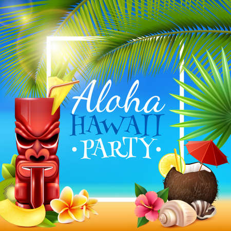 Illustration pour Hawaiian party frame with tiki mug, coconut cocktail, shells, flowers, palm branches on blue background vector illustration - image libre de droit