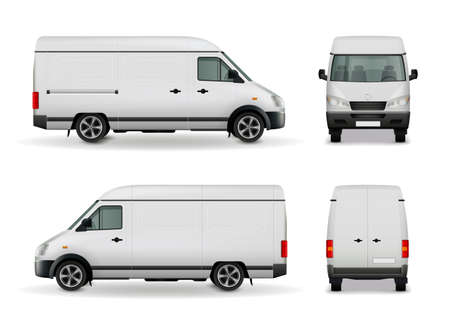 Illustration pour Realistic white cargo van with empty surface advertising mockup side view, front and rear vector illustration - image libre de droit
