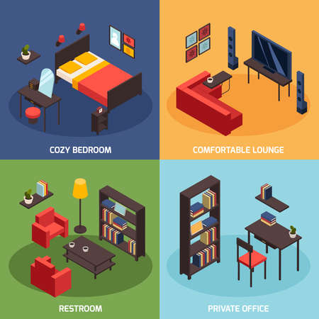 Illustration pour Living room concept icons set with comfortable lounge symbols isometric isolated vector illustration - image libre de droit