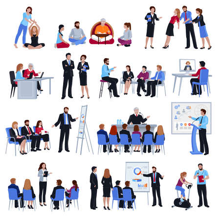 Illustration for Professional business life and sport coaching spiritual expert adviser mentoring concept flat icons collection isolated vector illustration - Royalty Free Image