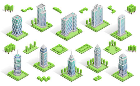 Illustration pour City houses isometric composition with  skyscrapers isolated vector illustration - image libre de droit