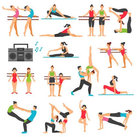 Ilustración de Dance training decorative icons set with girls in various poses stretching acrobatics music system isolated vector illustration - Imagen libre de derechos