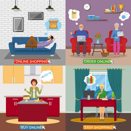 Illustration for Online shopping 2x2 design concept with people in home interior making online payment  flat vector illustration - Royalty Free Image
