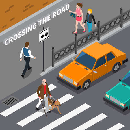 Illustration pour Blind person with cane and seeing eye dog on crosswalk cars waiting on road isometric vector illustration - image libre de droit