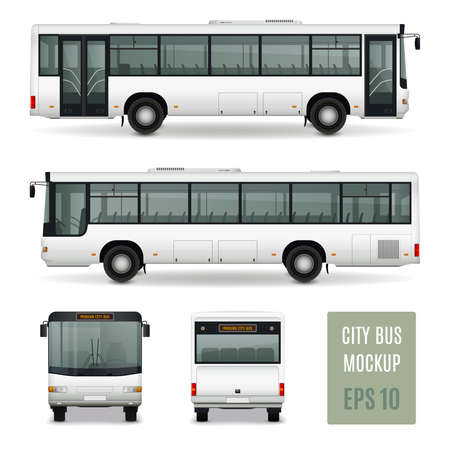 Illustration for Modern city bus realistic advertising template side view front and rear on white background isolated vector illustration - Royalty Free Image