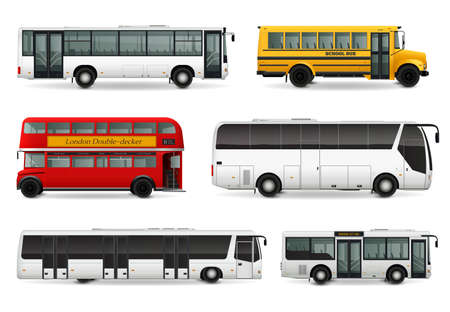 Illustration for Realistic set with school bus modern urban and touristic transport london double decker vehicle isolated vector illustration - Royalty Free Image