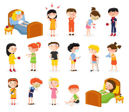 Illustration pour Cartoon sick boy and girl set of isolated doodle style teenager characters suffering from various diseases vector illustration - image libre de droit