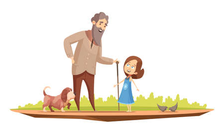 Illustration pour Old man senior character with cane walking with little girl and doggy outside retro cartoon poster vector illustration - image libre de droit