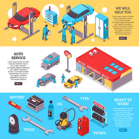 Illustration pour Auto service center workers and tools horizontal banners set 3d isolated vector illustration - image libre de droit