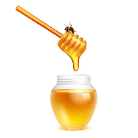 Illustration pour Honey dripping from dipper stick with honeybee in glass jar realistic design concept on white background vector illustration - image libre de droit