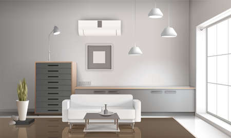 Illustration for Realistic sitting room interior 3d design with hanging lamps, furniture, conditioner on wall glossy floor vector illustration - Royalty Free Image