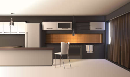 Illustration for Modern kitchen interior realistic composition with studio apartment furniture cupboard cabinets and wooden table with shadows vector illustration - Royalty Free Image