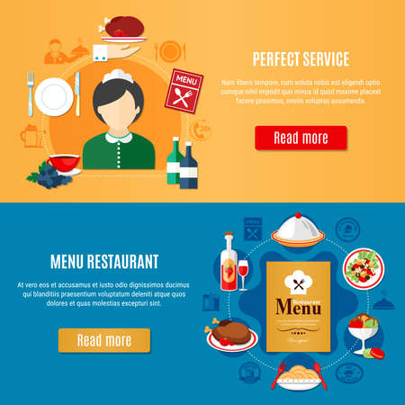 Illustration for Horizontal banners set with various restaurant dishes and female waiter silhouette flat isolated vector illustration - Royalty Free Image