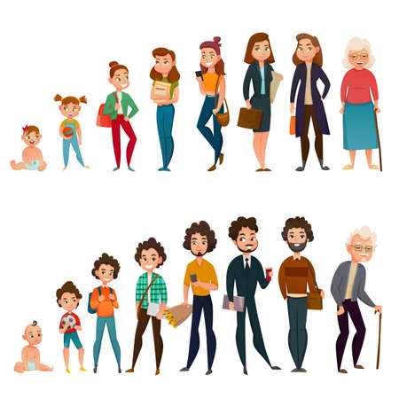 Illustration pour Human life cycle male and female set with childhood, school time, maturity and aging isolated vector illustration - image libre de droit