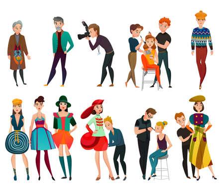 Illustration pour Set of people in fashion industry including models, designer, stylist photographer, makeup artist isolated vector illustration - image libre de droit