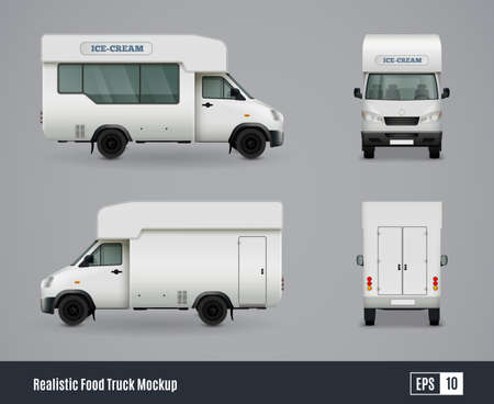 Illustration pour Food trucks realistic ad template mockup set with isolated views of wagon commercial vehicle with shadows vector illustration - image libre de droit