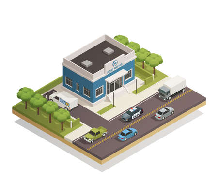 Illustration pour Postal mail service local post office building in busy city district street composition isometric view vector illustration - image libre de droit