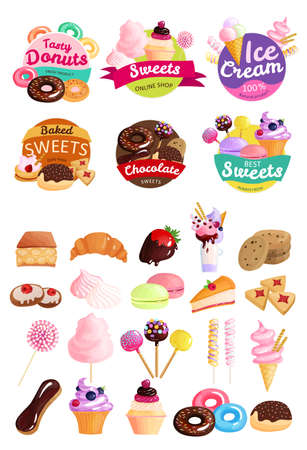 Illustration pour Isolated trendy sweets stickers icon set with tasty donuts sweets ice cream natural product baked sweets and other descriptions vector illustration - image libre de droit