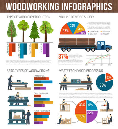 Illustration for Woodworking infographics composition with images of trees trucks machinery and equipment with text and circular graphs vector illustration - Royalty Free Image