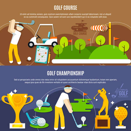 Illustration pour Golf competition horizontal banners with players, green course with flags, clubs and balls, trophies isolated vector illustration - image libre de droit