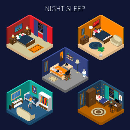 Illustration pour Night sleep set of isometric compositions with good rest and disorders on dark background isolated vector illustration - image libre de droit
