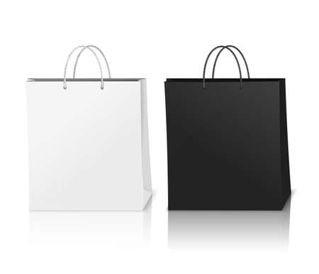 Illustration for Black and white shopping bags mockup realistic composition with shadows in 3d style vector illustration - Royalty Free Image