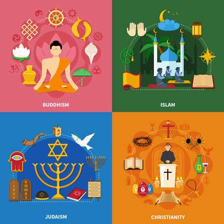 Illustration pour Four squares religions icon set with buddhism islam Judaism and Christianity descriptions vector illustration - image libre de droit