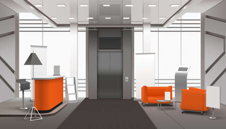 Illustration for Realistic lobby interior in orange grey color with reception desk, waiting area near lift, banners vector illustration - Royalty Free Image
