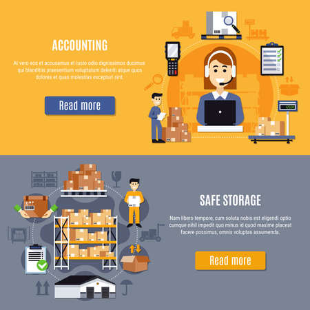 Illustration pour Two horizontal and flat warehouse banner set with accounting and safe storage descriptions vector illustration - image libre de droit