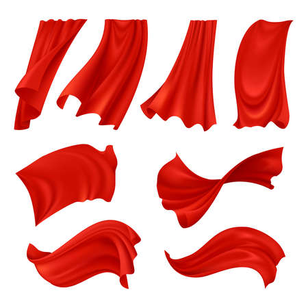 Illustration pour Realistic billowing red cloth set of fabrics in various positions isolated on white background vector illustration - image libre de droit
