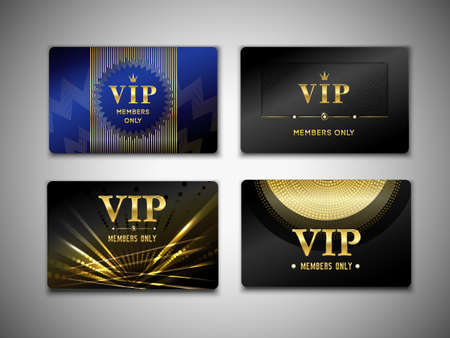 Illustration for Vip cards design template on black background with inscription member only, golden geometric elements isolated vector illustration - Royalty Free Image