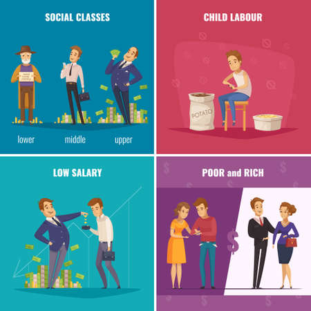 Illustration for Poor and rich 2x2 design concept with social classes low salary child labour flat square icons cartoon vector illustration - Royalty Free Image