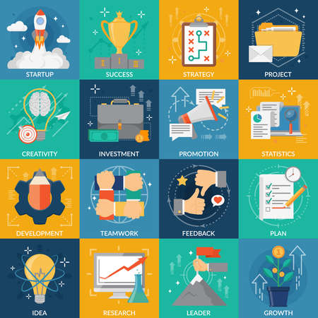 Illustration pour Development square icons set of idea strategy research plan investment startup project success flat elements vector illustration - image libre de droit