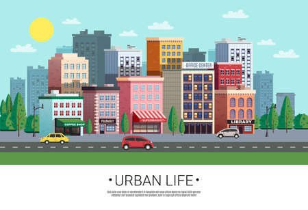 Illustration for Town shopping area street view with colorful houses trees cars and roadside green lawn vector illustration - Royalty Free Image