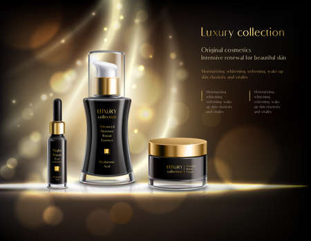 Illustration pour Luxury cosmetics realistic advertisement poster with black lotion dispenser cream jar golden bubbles dark background vector illustration - image libre de droit